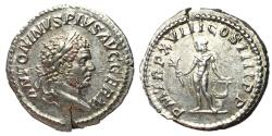 Ancient Coins - Caracalla, 198 - 217 AD, Silver Denarius, Apollo, Ch. EF