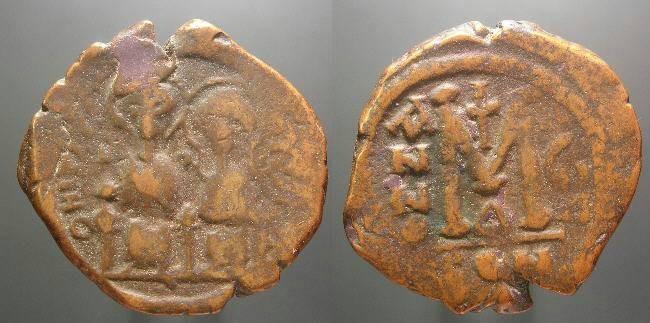Ancient Coins - Justin II, 565 - 578 AD, AE Follis, Year 7