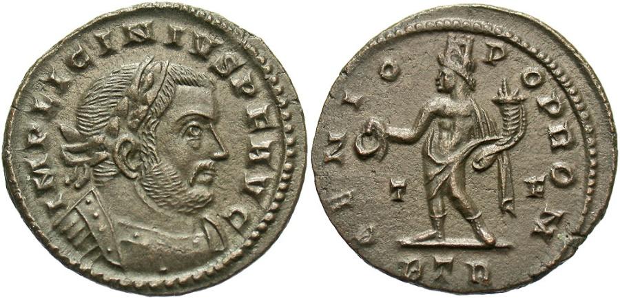 Ancient Coins - Licinius I, 308 - 324 AD, Follis of Treveri, Genius, Nice EF
