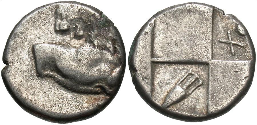 Ancient Coins - Thrace, Black Sea, Cherronesos, 400 - 350 BC, Silver Hemidrachm, Lion, Amphora