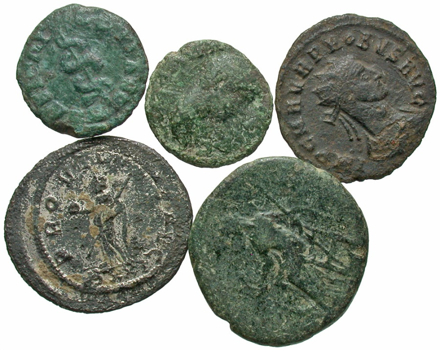 Ancient Coins - Lot of 5 Roman Bronzes, 1st to 3rd Century