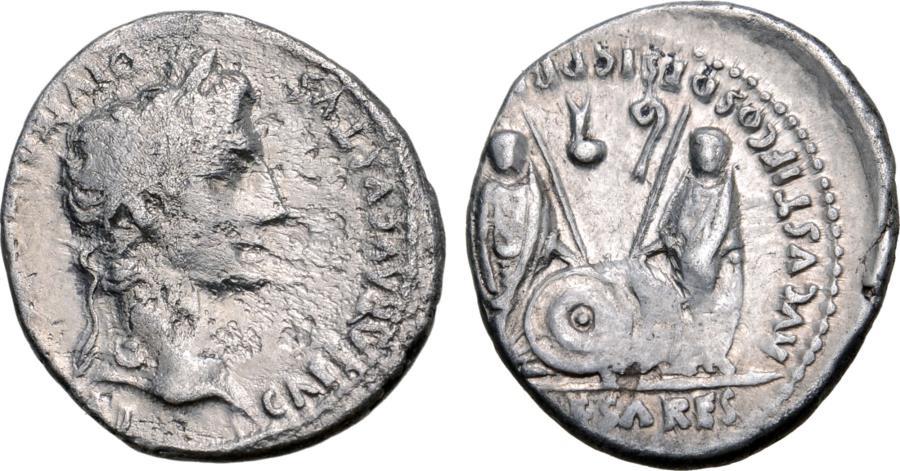 Ancient Coins - Augustus, 27 BC - 14 AD, Silver Denarius, Gaius & Lucius Caesars