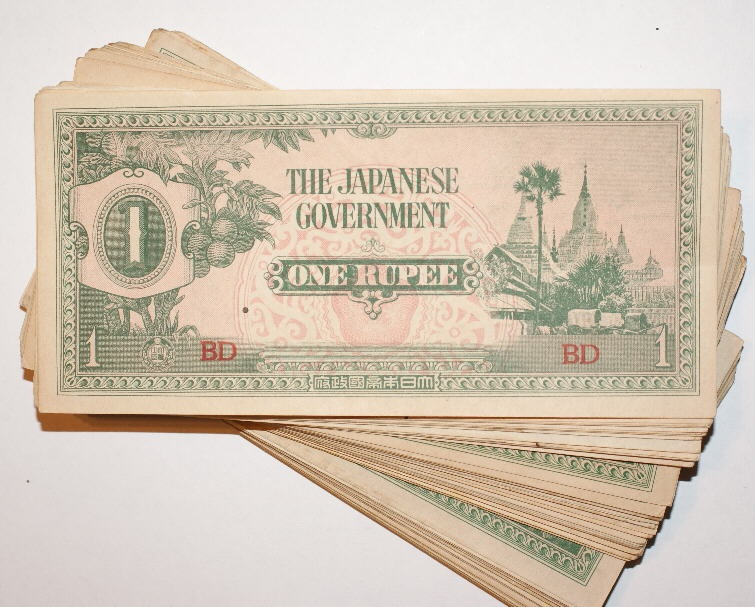 Ancient Coins - Burma, Japanese Occupation. 1 Rupee, 1942. AU to UNC, Lot of 100 Notes