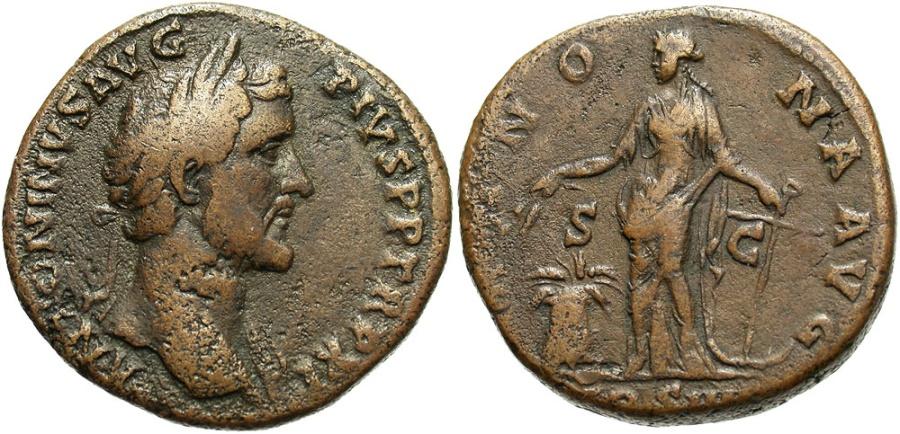 Ancient Coins - Antoninus Pius, 138-161 AD, Sestertius with Annona, Unpublished