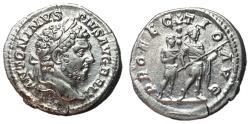 Ancient Coins - Caracalla, 198 - 217 AD, Silver Denarius, Emepror & Attendant