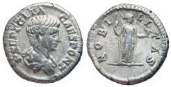 Ancient Coins - Geta, 209 - 211 AD, Silver Denarius, Nobilitas