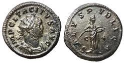 Ancient Coins - Tacitus, 275 - 276 AD, Antoninianus of Lugdunum, Salus, EF