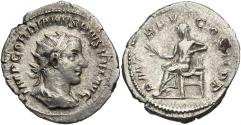 Ancient Coins - Gordian III, 238 - 244 AD, Silver Antoninianus of Rome, Mars