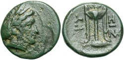 Ancient Coins - Mysia, Kyzikos, 3rd Century BC, AE12, Kore and Tripod