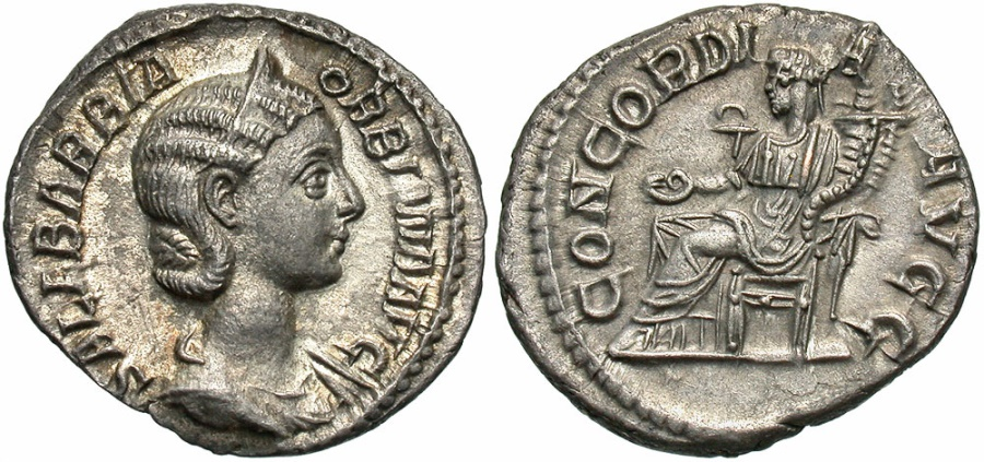 Ancient Coins - Orbiana, 225 - 226 AD, Silver Denarius Concordia, Toned UNC