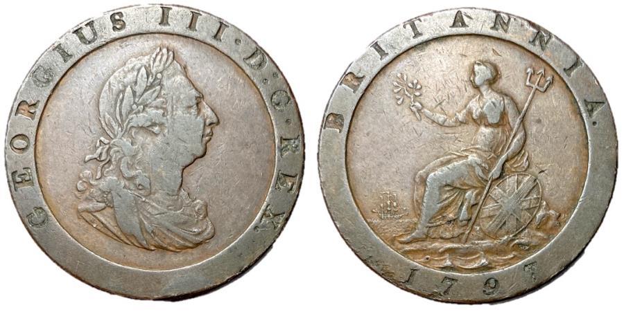 World Coins - Great Britain, George III, 1797 Cartwheel Penny