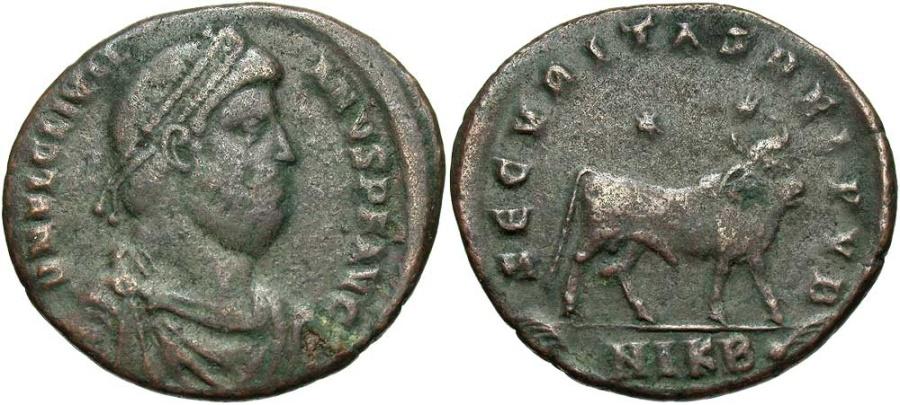 Ancient Coins - Julian II, 360 - 363 AD, AE30, Nicomedia Mint, Bull