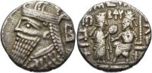 Ancient Coins - Parthian Kingdom, Vologases IV, 147 - 191 AD, Silver Tetradrachm
