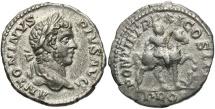 Caracalla, 198 - 217 AD, Silver Denarius, Emperor on Horseback