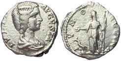 Ancient Coins - Julia Domna Silver Denarius of Laodicea with Juno