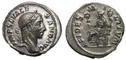 Ancient Coins - Severus Alexander, 222 - 235 AD, Silver Denarius, Fides