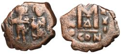 Ancient Coins - Heraclius with Heraclius Constantine, 610 - 641 AD, Follis of Constantinople