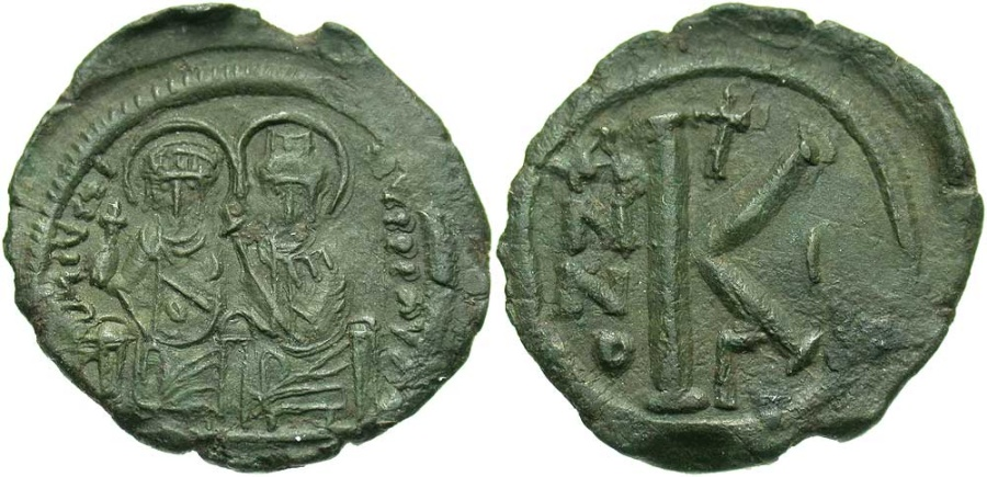 Ancient Coins - Justin II 565 - 578 AD, Half Follis of Constantinople