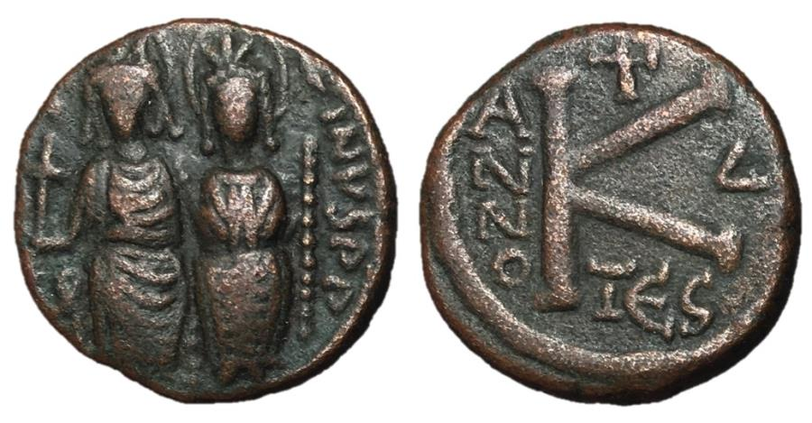 Ancient Coins - Justin II with Sophia, 565 - 578 AD, Half Follis of Thessalonica