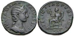 Ancient Coins - Julia Mamaea, Issue by S. Alexander, 230 AD, Sestertius, Felicitas