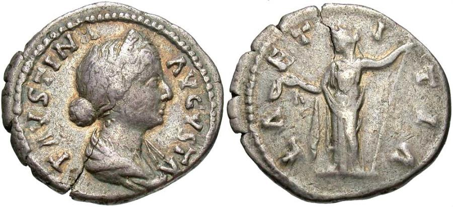 Ancient Coins - Faustina Jr., Issue by Aurelius & Verus, 161 - 164 AD, Silver Denarius, Laetitia