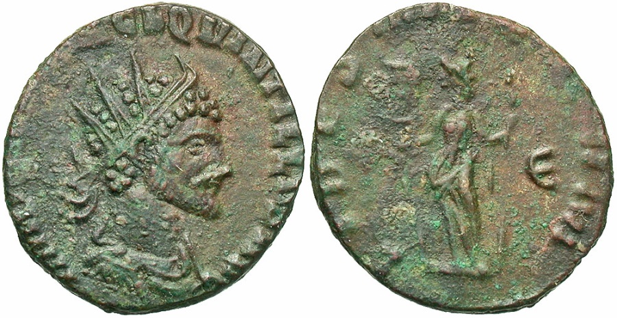 Ancient Coins - Quintillus, 270 AD, Antoninianus, Fides
