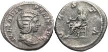 Ancient Coins - Julia Domna, 193 - 211 AD, Silver Denarius, Vesta