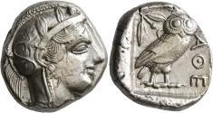 Ancient Coins - Attica, Athens, 454 - 404 BC, Silver Tetradrachm