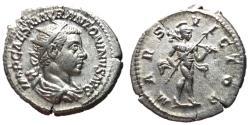 Ancient Coins - Elagabalus, 218 - 222 AD, Silver Antoninianus, Mars, XF