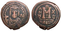 Ancient Coins - Maurice Tiberius, 582 - 602 AD, Follis of Theoupolis