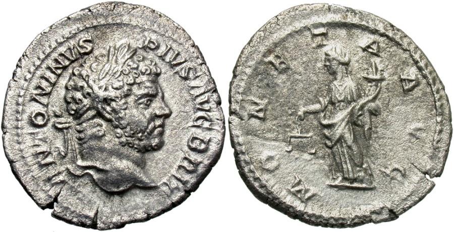 Ancient Coins - Caracalla, 198 - 217 AD, Silver Denarius, Laodicea Mint, Moneta