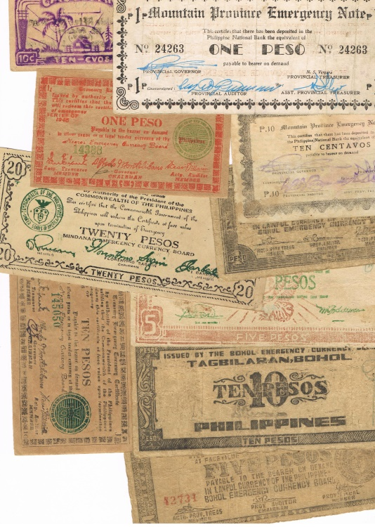 Ancient Coins - Lot of 10 Philippine Guerilla Notes, WWII