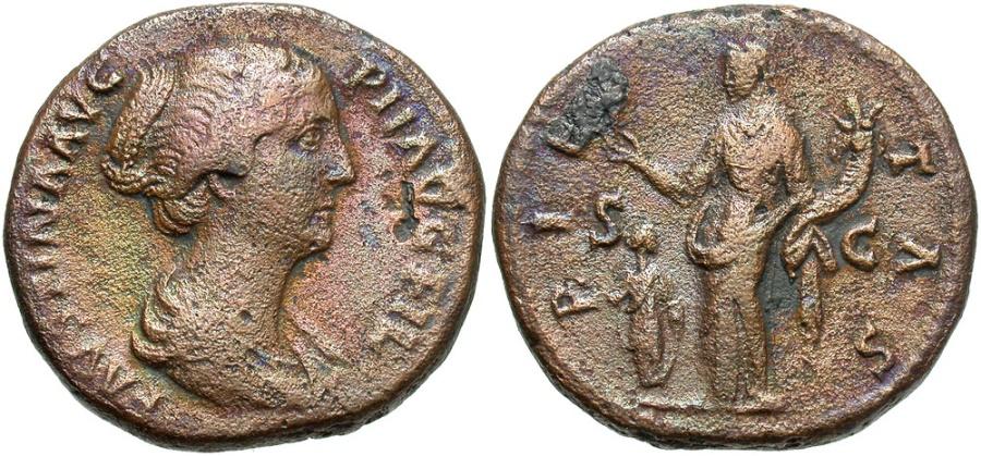 Ancient Coins - Faustina Jr, Issue by M. Aurelius, 161 - 175 AD, AE Dupondius, Pietas