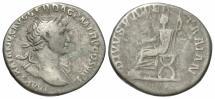 Ancient Coins - Trajan, 98 - 117 AD, Silver Denarius, Trajan's Father Enthroned