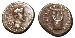 Ancient Coins - Tiberius, 14 - 37 AD, AE14, Lydia, Apollonosheiron, Lyre, Rare