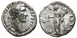 Ancient Coins - Antoninus Pius, 138 - 161 AD, Silver Denarius, Vesta
