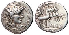 Ancient Coins - Q Curtius & M Silanus, 116 - 115 BC, Silver Denarius