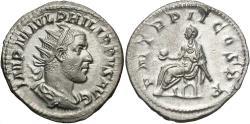 Ancient Coins - Philip I, 244 - 249 AD, Silver Antoninianus, Emperor Enthroned