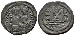 Ancient Coins - Justin II with Sophia, 565 - 578 AD, 31mm Follis of Constantinople with Christogram