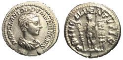 Ancient Coins - Diadumenian, as Caesar, 214 - 218 AD, Silver Denarius, Prince with Standards, EF