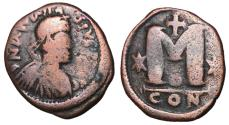 Ancient Coins - Anastasius, 491 - 518 AD, Follis of Constantinople