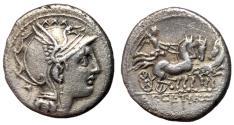Ancient Coins - Appius Claudius Pulcher & Manlius Mancinius & Q. Urbinius, 111 - 110 BC, Silver Denarius