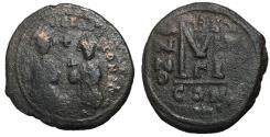 Ancient Coins - Heraclius with Heraclius Constantine, 610 - 641 AD, Follis of Constantinople