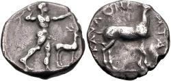 Ancient Coins - Bruttium, Kaulonia, 475 - 425 BC, Silver Stater, Apollo & Stag