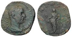 Ancient Coins - Trebonianus Gallus, 251 - 253 AD, Sestertius with Libertas