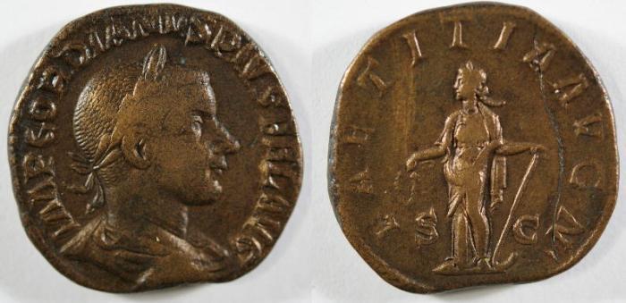 Ancient Coins - Gordian III, 238 - 244 AD, Sestertius, Laetitia