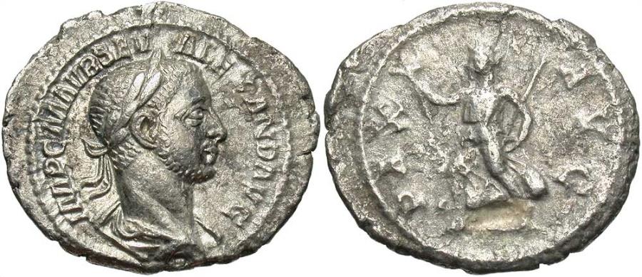 Ancient Coins - Severus Alexander, 225 - 235 AD, Silver Denarius, Pax