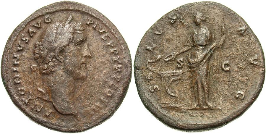 Ancient Coins - Antoninus Pius, 138 - 161 AD, Sestertius, Salus