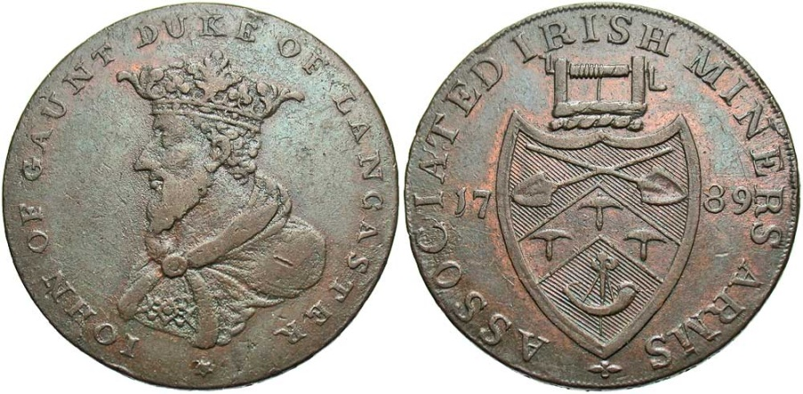 World Coins - Ireland, Wicklow, Cronebane, Halfpenny Token 1789, D&H72