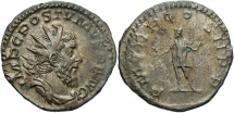 Ancient Coins - Postumus, 260 - 269 AD, Silver Antoninianus, Lugdunum Mint, Old Collection Toning